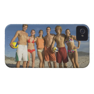 Friends posing on beach with volleyballs Case-Mate iPhone 4 case