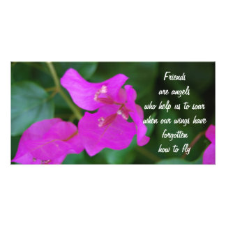 Friends purple flowers personalized photo card