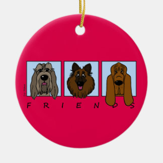 Friends: Spinone Italiano, Tervueren, Bloodhound Christmas Ornament