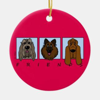 Friends: Spinone Italiano, Tervueren, Bloodhound Round Ceramic Decoration