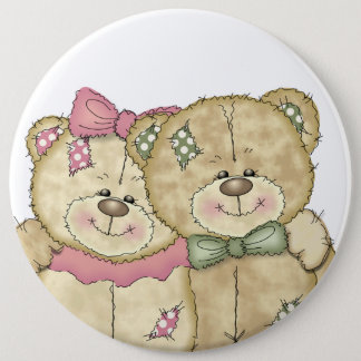 Friends Teddy Bear Pair - Original Colors 6 Cm Round Badge