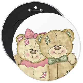 Friends Teddy Bear Pair - Original Colors 6 Cm Round Badge