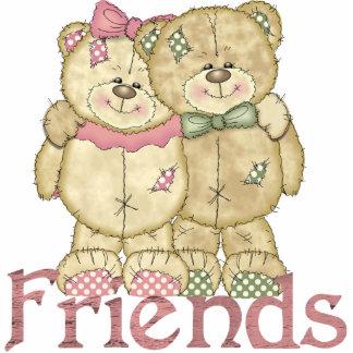Friends Teddy Bear Pair - Original Colors Standing Photo Sculpture