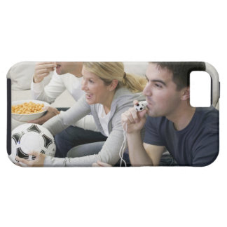 Friends watching TV with whistle, football and iPhone 5 Cover