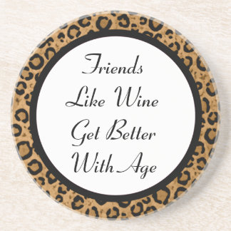 Friends & Wine Leopard Coaster