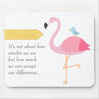 Friendship Cartoon: Pink Flamingo with Blue Bird Mouse Mat