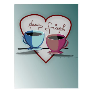 Friendship Coffee Cups Valentine's Day Card Postcard