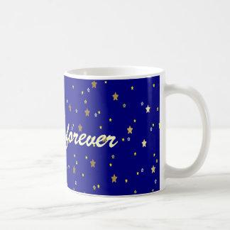 Friendship Forever Blue Golden Stars Mug