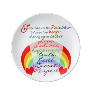 Friendship is the rainbow BFF Saying Design Plate