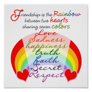 Friendship is the rainbow BFF Saying Design Poster