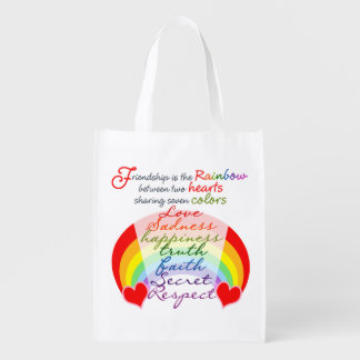 Friendship is the rainbow BFF Saying Design Reusable Grocery Bag