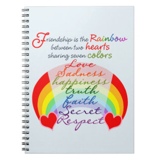 Friendship is the rainbow BFF Saying Design Spiral Notebook