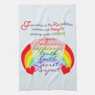 Friendship is the rainbow BFF Saying Design Tea Towel