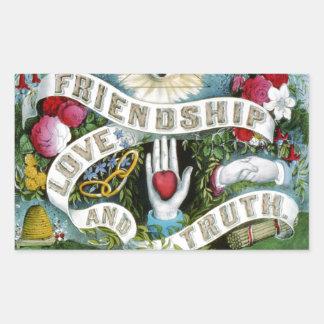 Friendship, Love, and Truth Rectangular Sticker