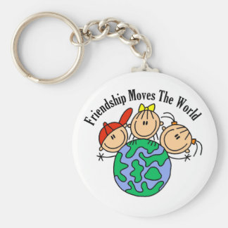 Friendship Moves the World T-shirts and Gifts Basic Round Button Key Ring