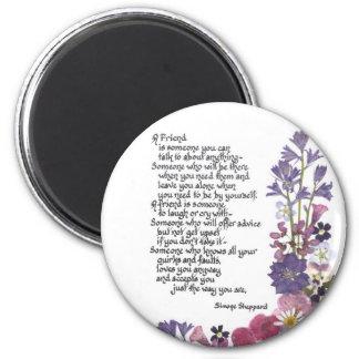 Friendship poem 6 cm round magnet