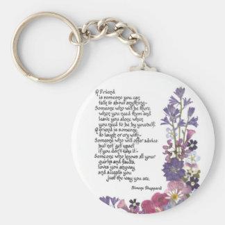 Friendship poem basic round button key ring