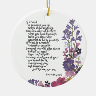 Friendship poem christmas ornament