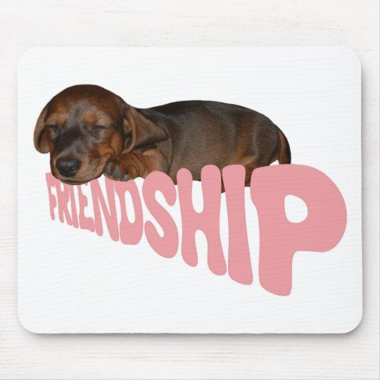 Friendship puppy / dog is man's best friend, pink mouse mat