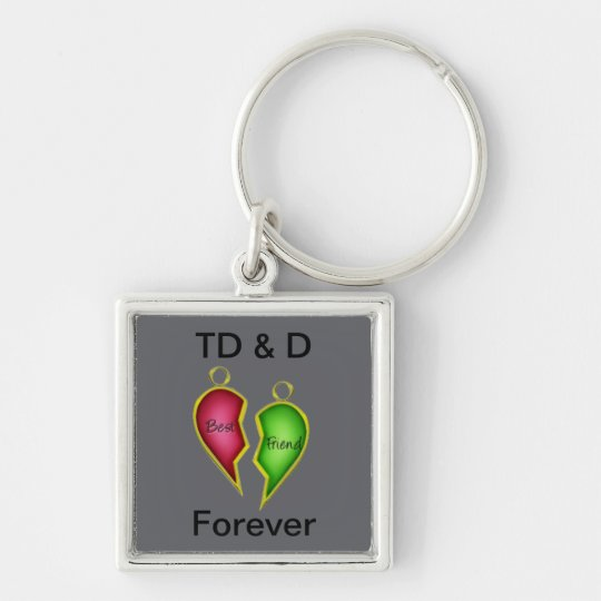 Friendship Silver-Colored Square Key Ring