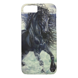 Friesian, black beauty stallion horse, ocean waves iPhone 8/7 case