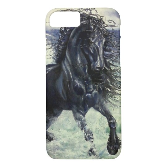 Friesian, black beauty stallion horse, ocean waves iPhone