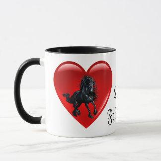 Friesian, black stallion horse, black beauty heart mug