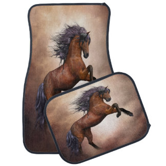 Friesian brown horse rearing up with misty clouds car mat