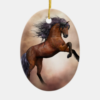 Friesian brown horse rearing up with misty clouds christmas ornament
