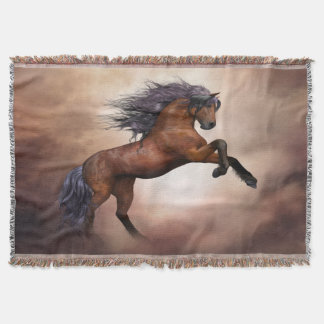 Friesian brown horse rearing up with misty clouds throw blanket