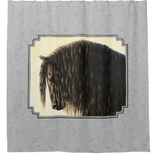 Friesian Draft Horse Silver Gray Shower Curtain