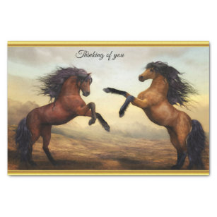 Friesian Draught   Horses in a rocky mountain Tissue Paper