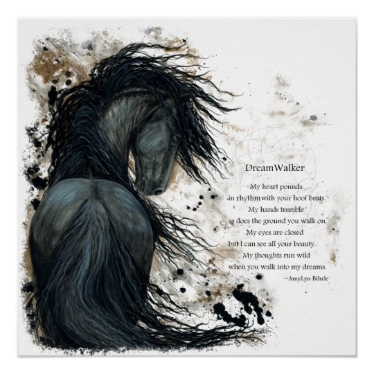Friesian DreamWalker Horse Poem Poster by Bihrle