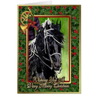 Friesian Dressage Horse Blank Christmas Card