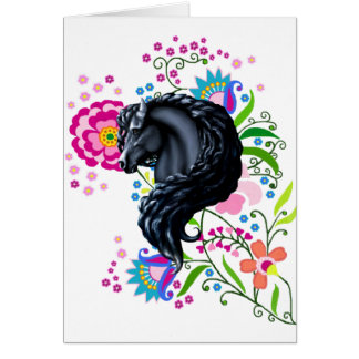 Friesian Folk, horse, black stallion Greeting Card
