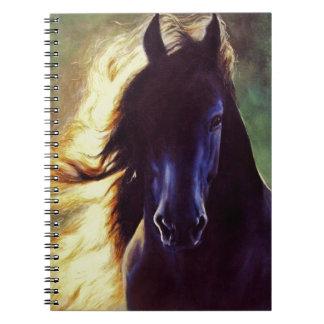"""Friesian Glow"" black horse, stallion Notebook"