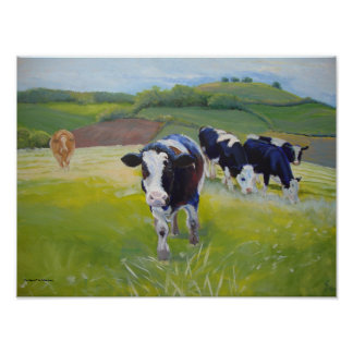 Friesian / Holstein  Cows and Landscape Painting Poster