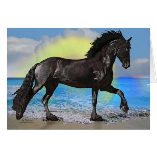 Friesian Horse Beach Card