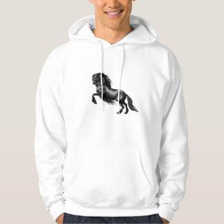 Friesian horse black stallion tis reason season hooded pullover