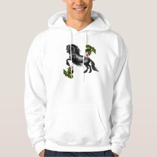 Friesian horse black stallion tis reason season hooded sweatshirt