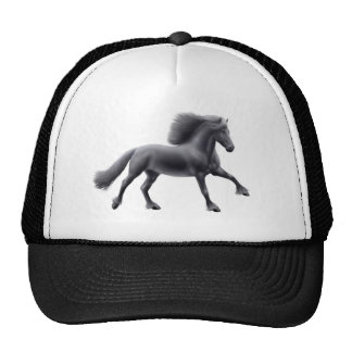 Friesian Horse Galloping Mesh Hat
