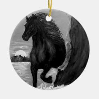 Friesian Horse in the Surf Christmas Ornament