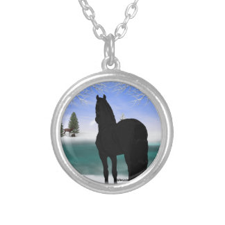 Friesian Horse in Winter Silver Plated Necklace