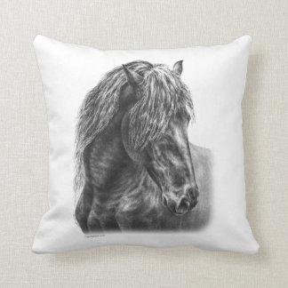 Friesian Horse Portrait Wavy Mane Cushion