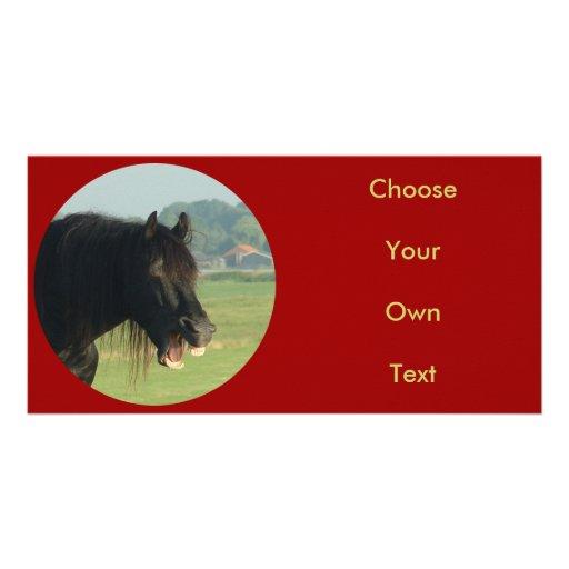 Friesian Horse-portrait yawning in circle Photo Card