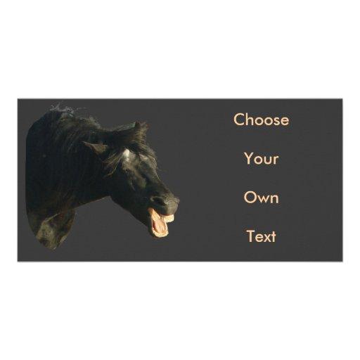 Friesian Horse-portrait yawning Personalized Photo Card