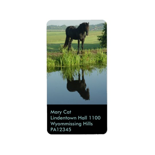 Friesian Horse Reflection in water Address Label