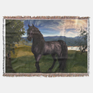 Friesian Horse Throw Blanket