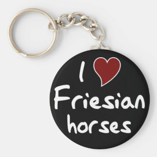 Friesian horses basic round button key ring