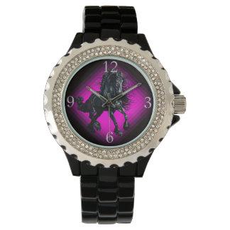 Friesian stallion black beauty horse wrist watch